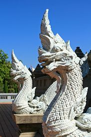 image of serpent  - Close up of statue  white serpents in Thailand - JPG