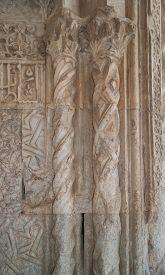picture of ottoman  - Ottoman relief ornament and two columns on the facade of Caravanserai Sultan Han near Kayseri close - JPG