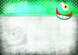 picture of scrappy  - A digitally painted scrappy note paper background design with a crazy cartoon toothy face and green polka dots - JPG