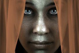 image of shy woman  - Face of shy freckled woman with veil and beautiful big eyes - JPG
