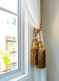 picture of tassels  - Dual tassels on curtain at main window - JPG