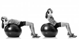 stock photo of stability  - Stability ball exercise - JPG
