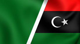 stock photo of libya  - 3D Combined Flag of Libya - JPG