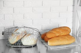 stock photo of bakeshop  - Fresh bread on table - JPG