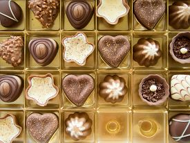 pic of bonbon  - multi shape chocolate bonbons in a box - JPG