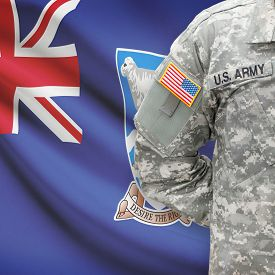 pic of falklands  - American soldier with flag on background series  - JPG