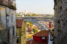 stock photo of dom  - view of Dom Luis I bridge in Porto - JPG