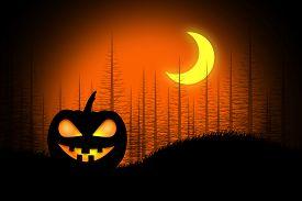 picture of glow  - Spooky halloween pumpkin with glowing eyes under a glowing moon - JPG