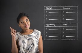foto of swot analysis  - South African or African American black woman teacher or student with a good idea or answer with a SWOT analysis standing against a chalk blackboard background inside - JPG