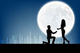 picture of moon silhouette  - silhouette of man makes a proposal a silhouette woman on the full moon background - JPG