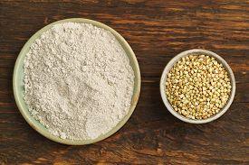 pic of buckwheat  - Buckwheat and buckwheat flour in small bowls - JPG