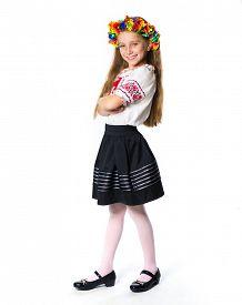 foto of national costume  - happy little Ukrainian  girl in the national costume - JPG
