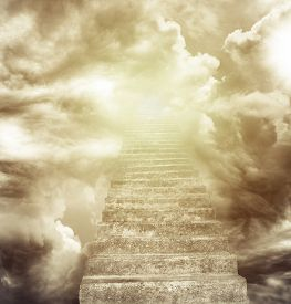 image of stairway  - Stairway leading up to heavenly sky - JPG