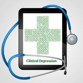 image of depressed  - Clinical Depression Indicating Depressive Disorder And Disease - JPG