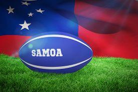 picture of samoa  - Samoa rugby ball against samoan flag over white background - JPG