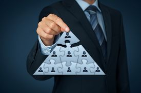 foto of human pyramid  - CEO leadership and corporate hierarchy concept  - JPG