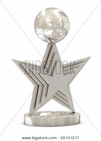 Silver soccer trophy with multiple stars and ball