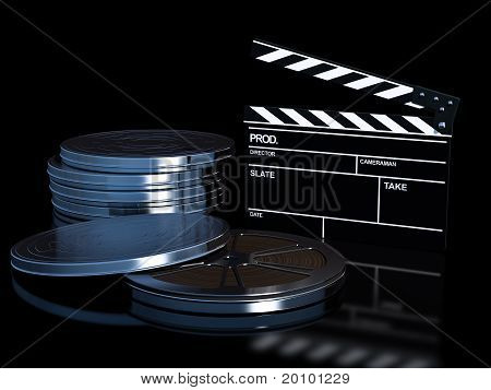 clapperboard and cinema film roll
