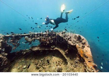 Shipwreck And Diver