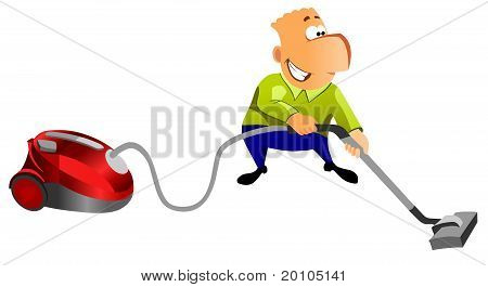 Happy man with vacuum cleaner.