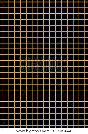 Golden grid on black background