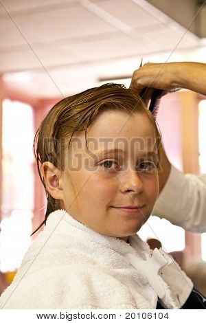 Young Boys At The Hairdresser