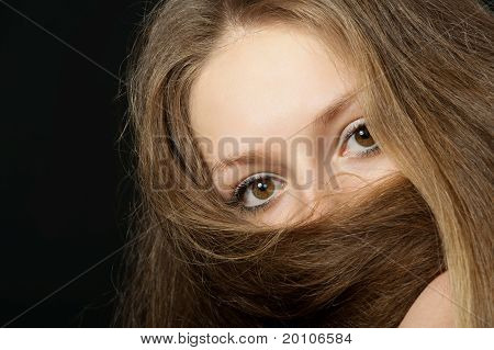 The Girl Closes Long Hair The Bottom Part Of The Person. A Yashmak.