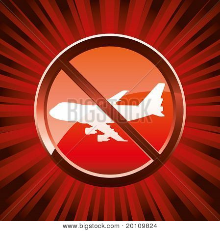 Warning sign about no flights