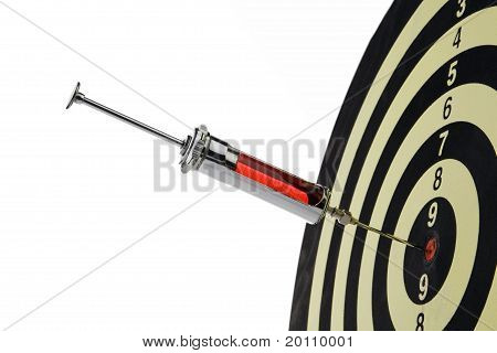 Syringe injection into the target