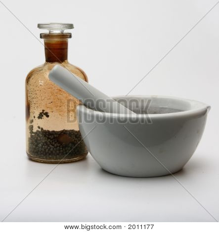 Laboratory Flask And Mortar