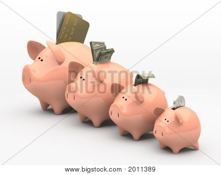 Four Pink Piggy Banks Showing Profits And Gains On White Background