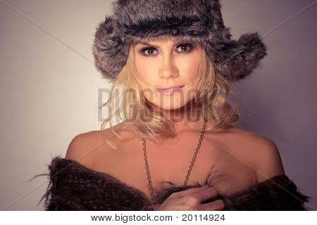 Fashion Wearing Woman In Fur Hat And Coat