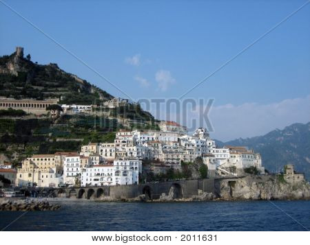 View Of Amalfi Town From Ocean
