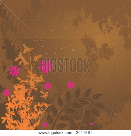 Pink-Orange Floral Grunge
