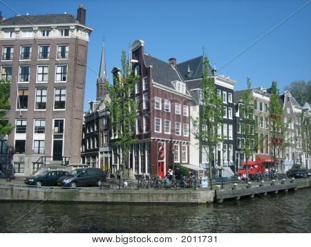 View Of Tilted Canal Houses In Amsterdam