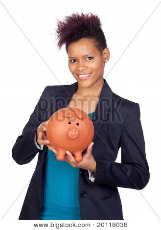 African Girl With A Big Moneybox
