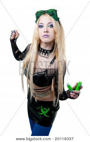 Beautiful Cybergoth Blonde Girl