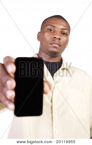 Black Businessman Holding A Cell Phone