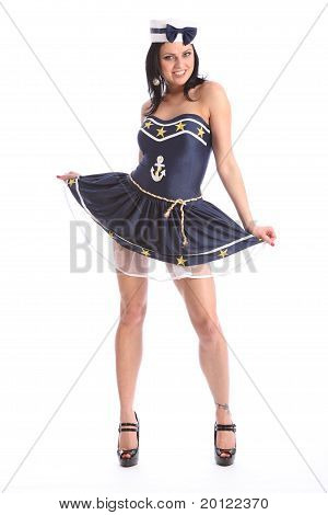 Beautiful Girl In Sexy Sailor Dress Costume