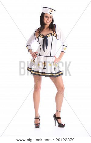 Pretty Happy Girl In Sexy Sailor Party Costume