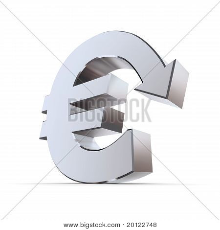 Shiny Euro Symbol With Arrow Down - Metallic
