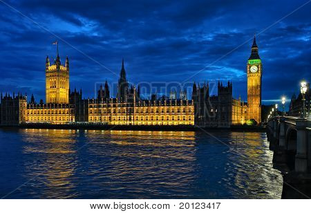 Palace Of Westminster And The River Thames, London, England, Uk, Europe, At Night