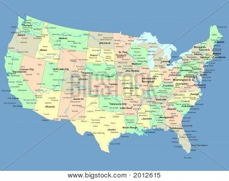 Mapa dos EUA com nomes de Estados e municípios