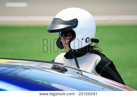 Attractive Woman In Motoracer Uniform