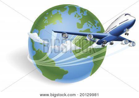 Airplane Globe Concept