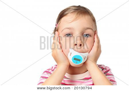 beautiful little girl holding thermometer in her mouth in form of nipples isolated on white