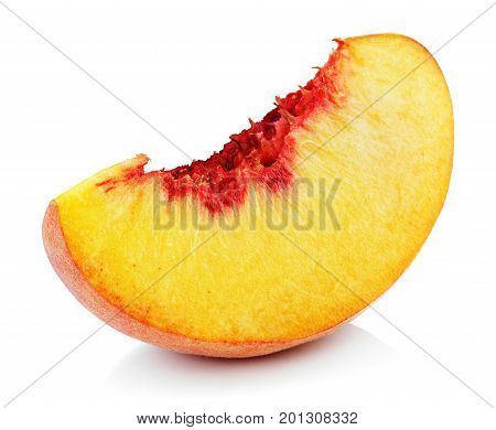 poster of Peach Slice Isolated On White