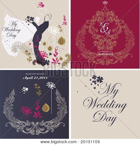 juego de diseño de tarjetas de boda