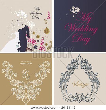 wedding card design set