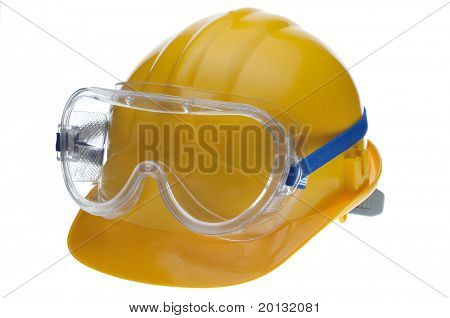Construction hard hat helmet, gloves, glasses